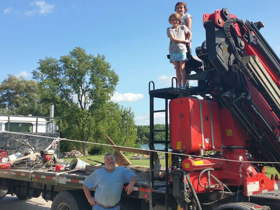 family on equipment